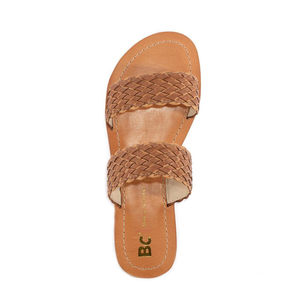 BC footwear brown vegan woven sandal top view