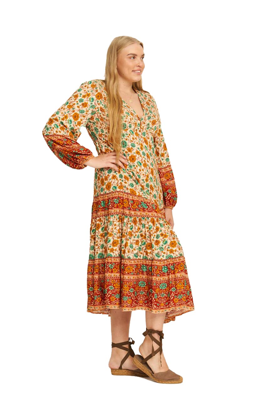 Phoebe Shirred Boho Dress - front