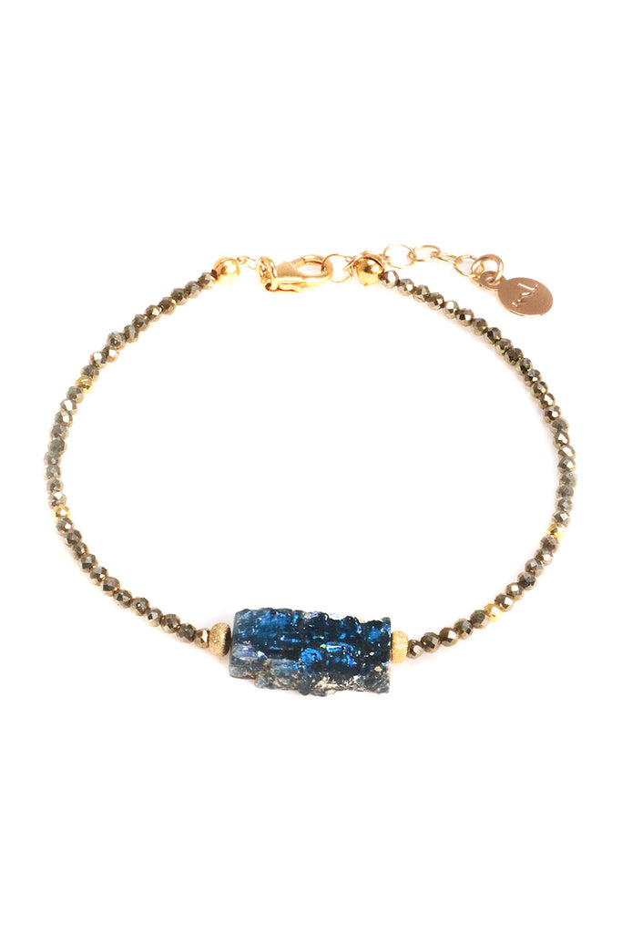 Pyrite and Kyanite Slice Bracelet