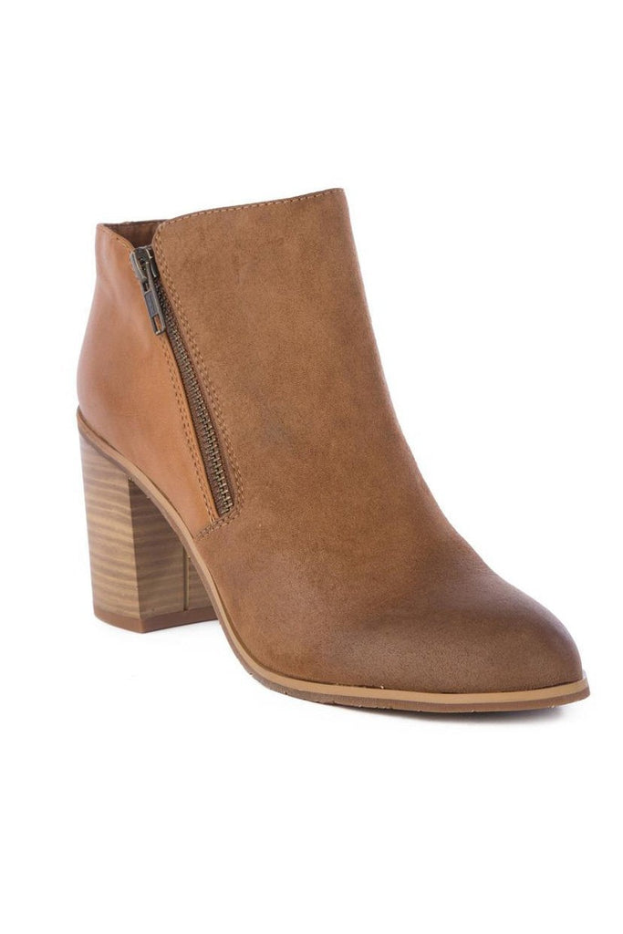 vegan leather and suede tan ankle boot