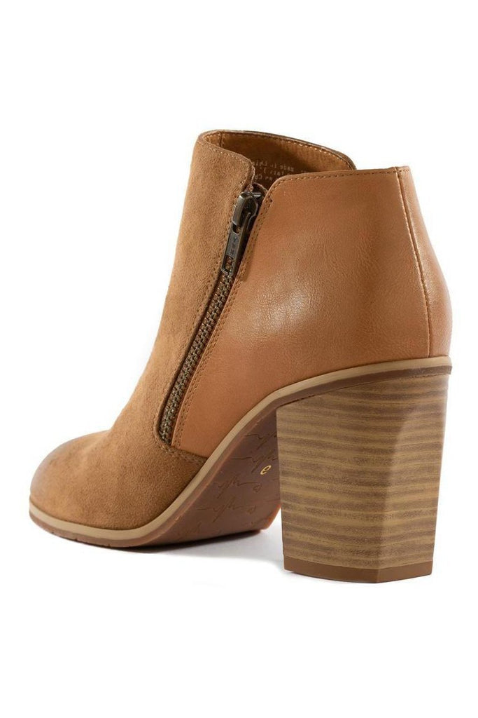 tan ankle bootie with block heel and side zip closure