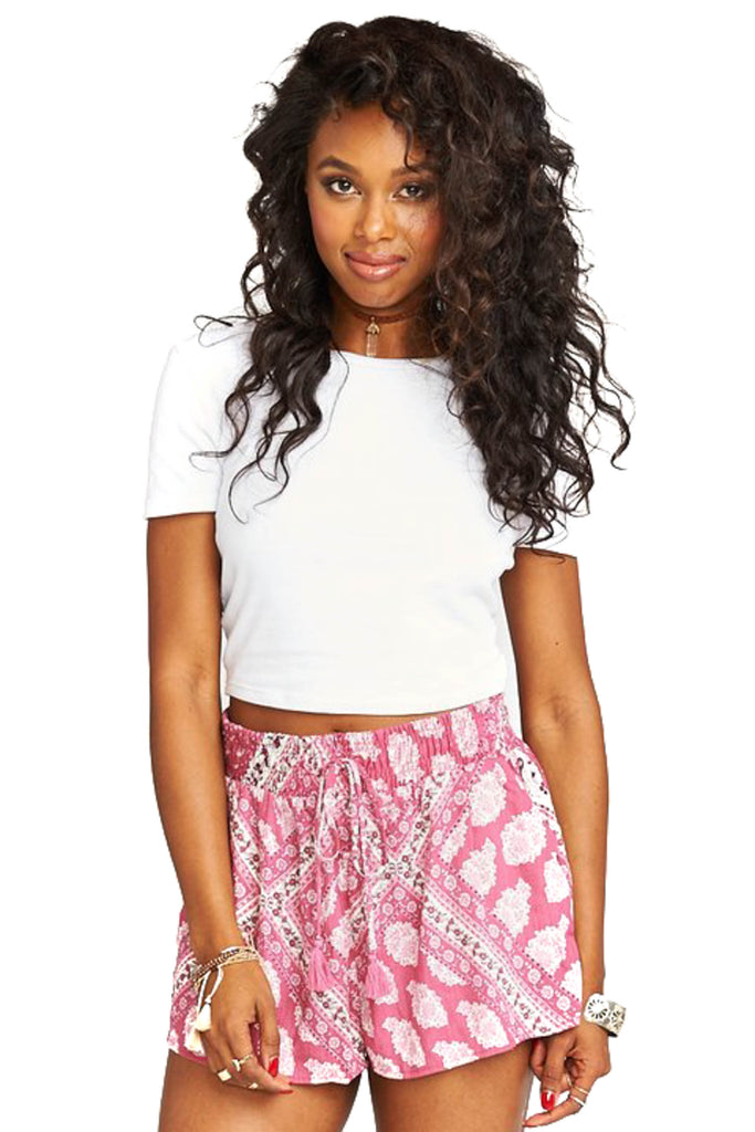 Red Wine Paisley Serena Smocked Shorts