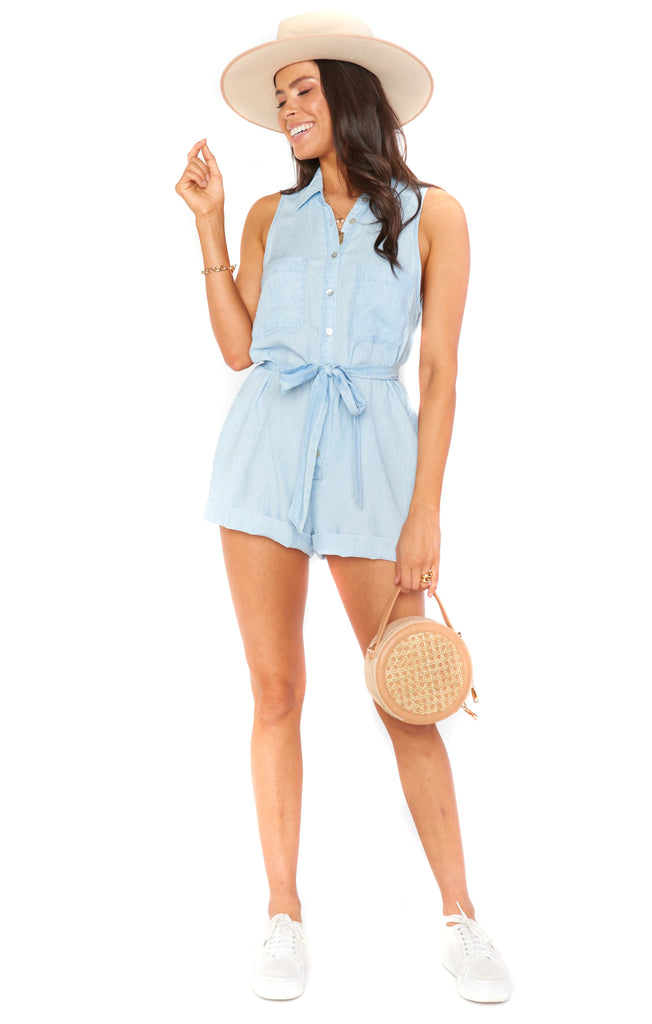Shore Chambray Rylie Romper - Full
