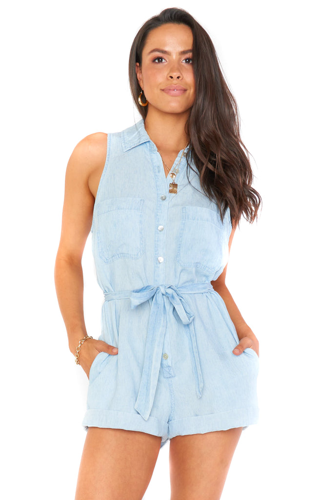 Shore Chambray Rylie Romper - Front