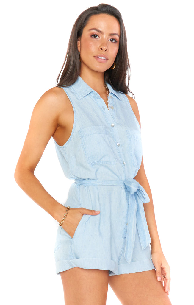 Shore Chambray Rylie Romper - Side