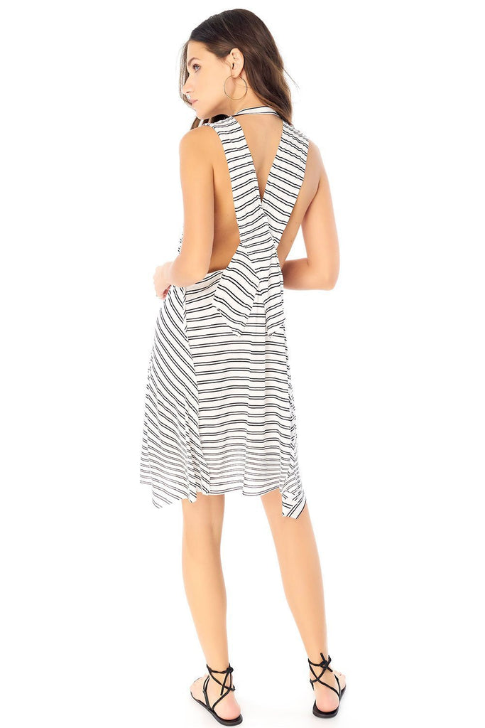 saltwater luxe mini black stripe dress back photo