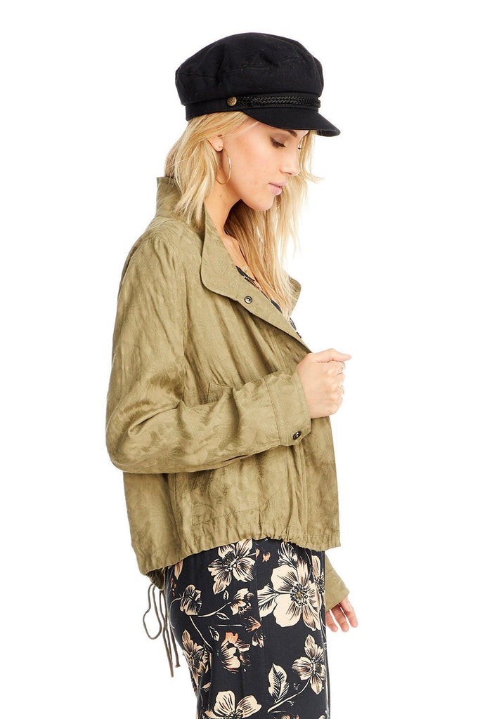 the side of a Saltwater Luxe olive textured jacket