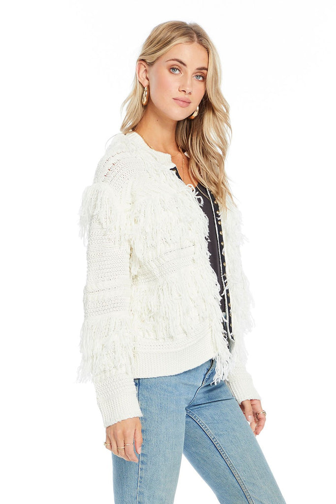 saltwater luxe ivory fringe open knit cardigan side photo