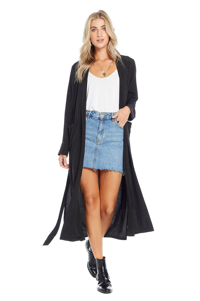 saltwater luxe open black maxi duster