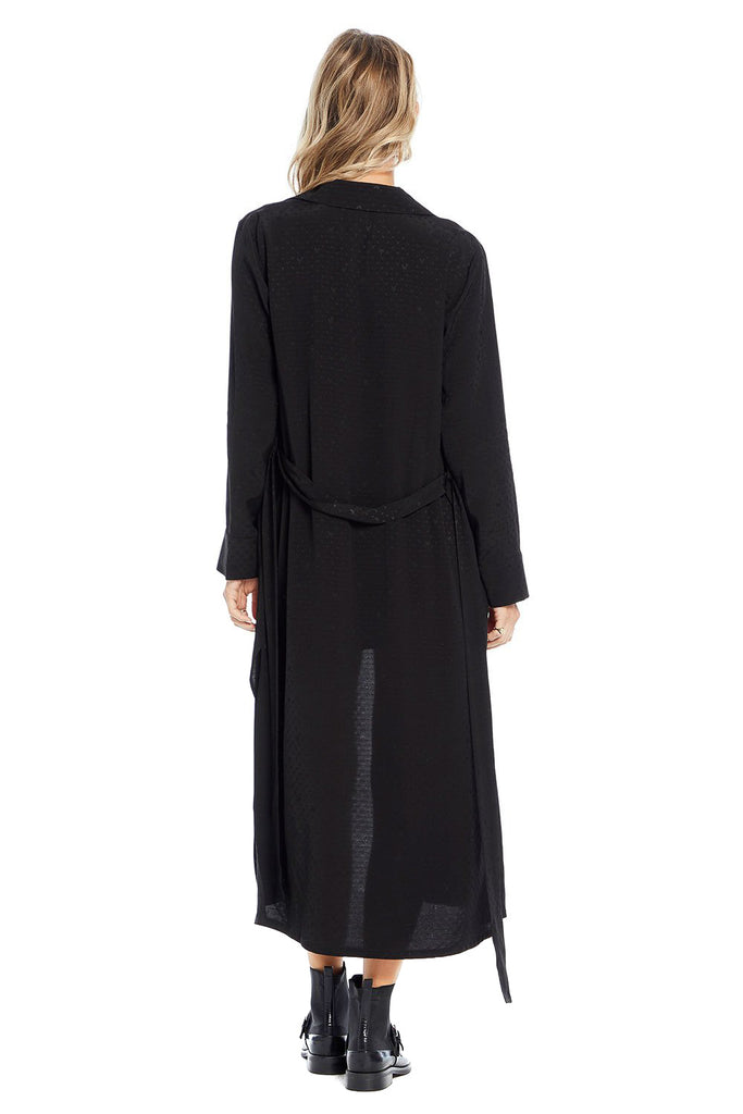 saltwater luxe long sleeve black maxi duster back photo