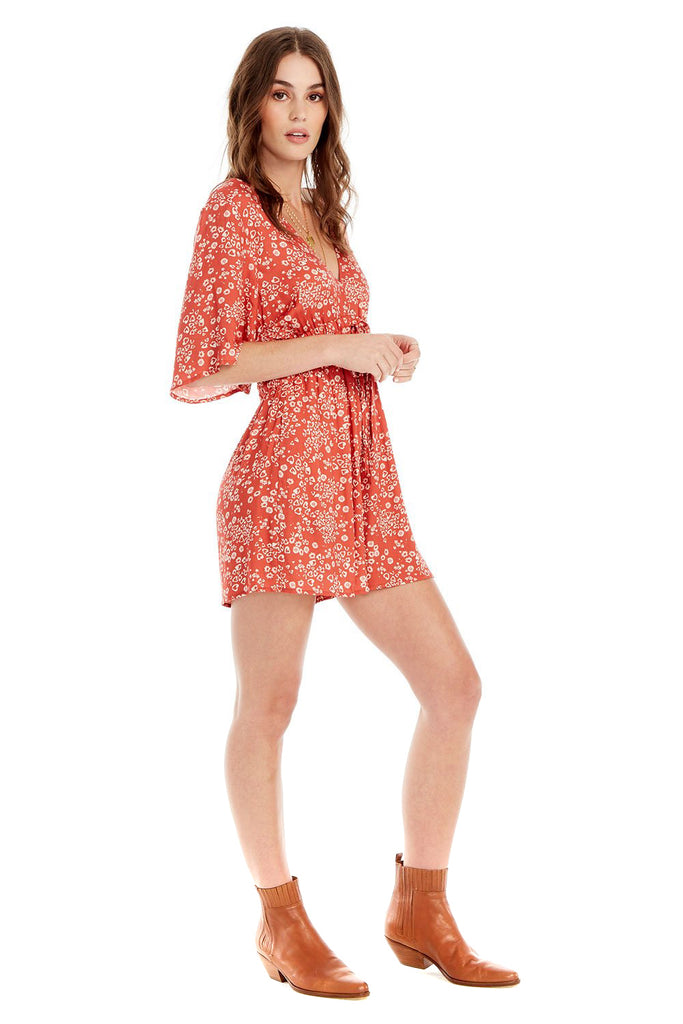 Heart Cheetah In Red Lido Romper - side