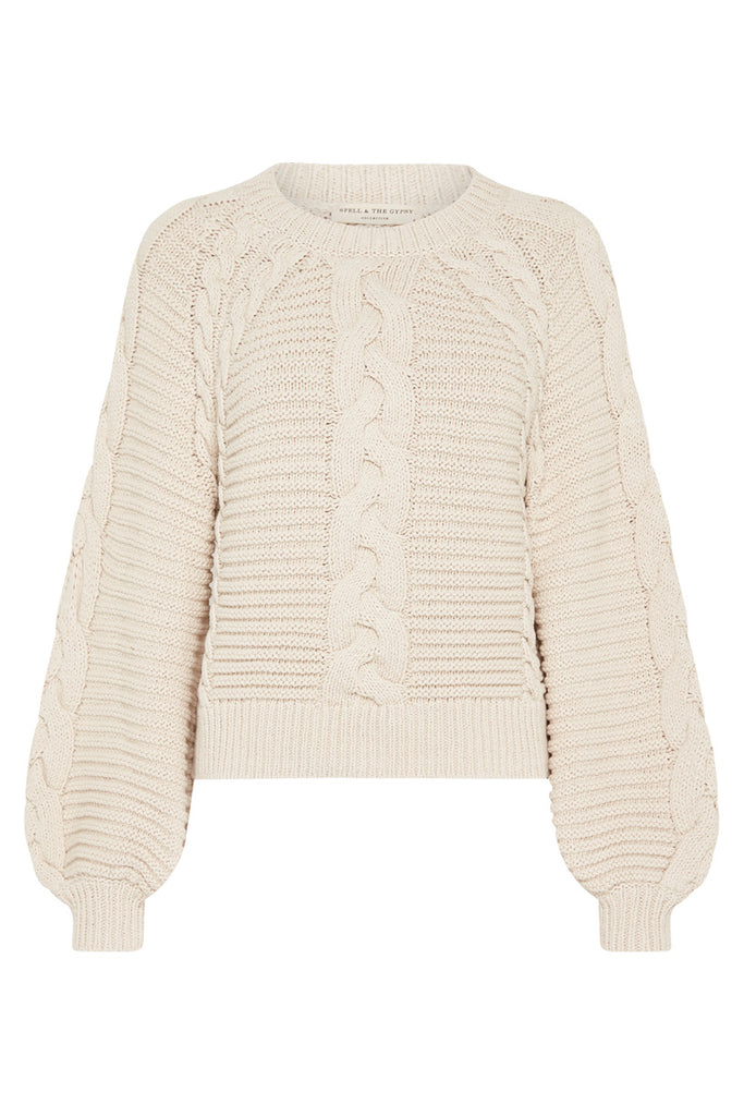 Sand Brunch Cable Knit Jumper - Flat Lay Front