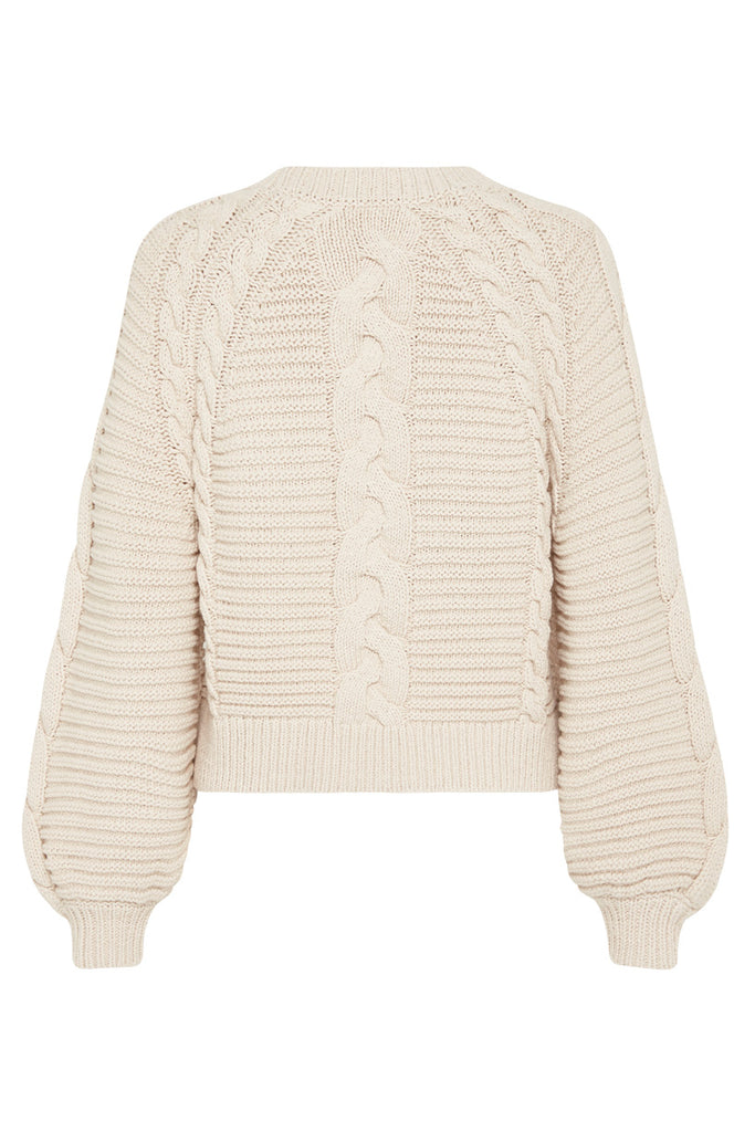 Sand Brunch Cable Knit Jumper - Flat Lay Back