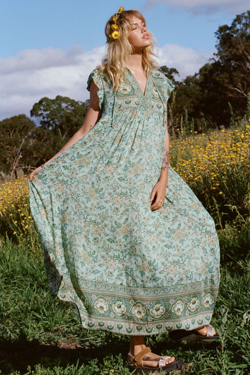 Sage Folk Song House Dress