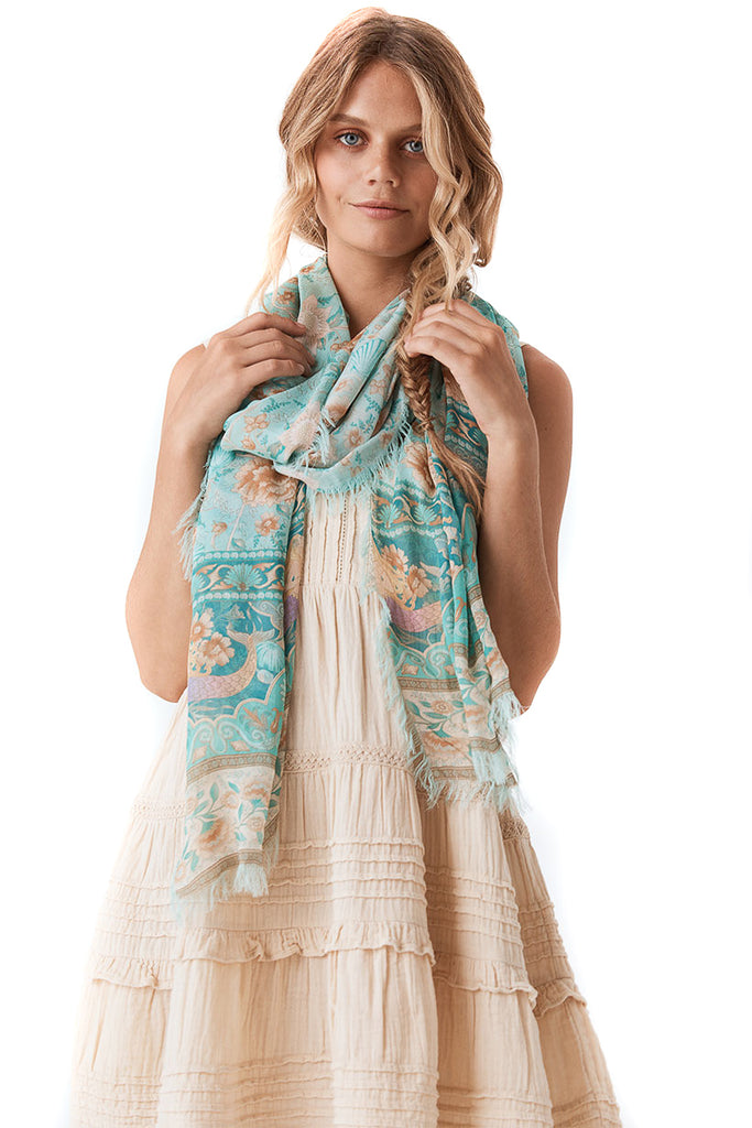 Spell & The Gypsy Collective Seafoam Seashell Travel Scarf