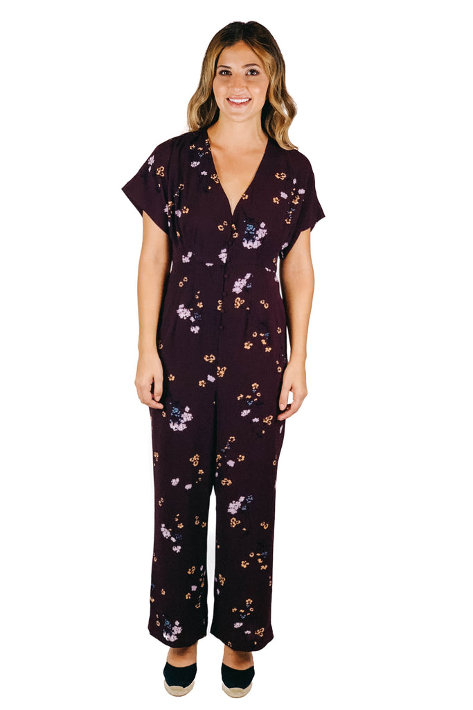 gentle fawn short sleeve burgundy floral jumpsuit