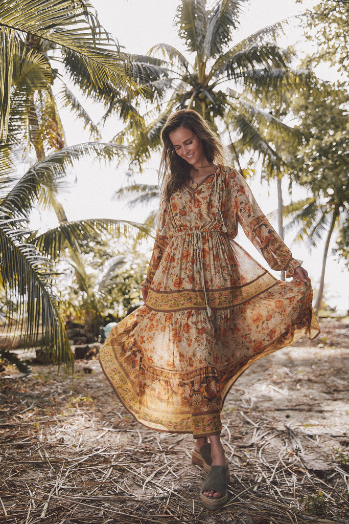 Spell & The Gypsy Collective Sand Seashell Gown on the beach