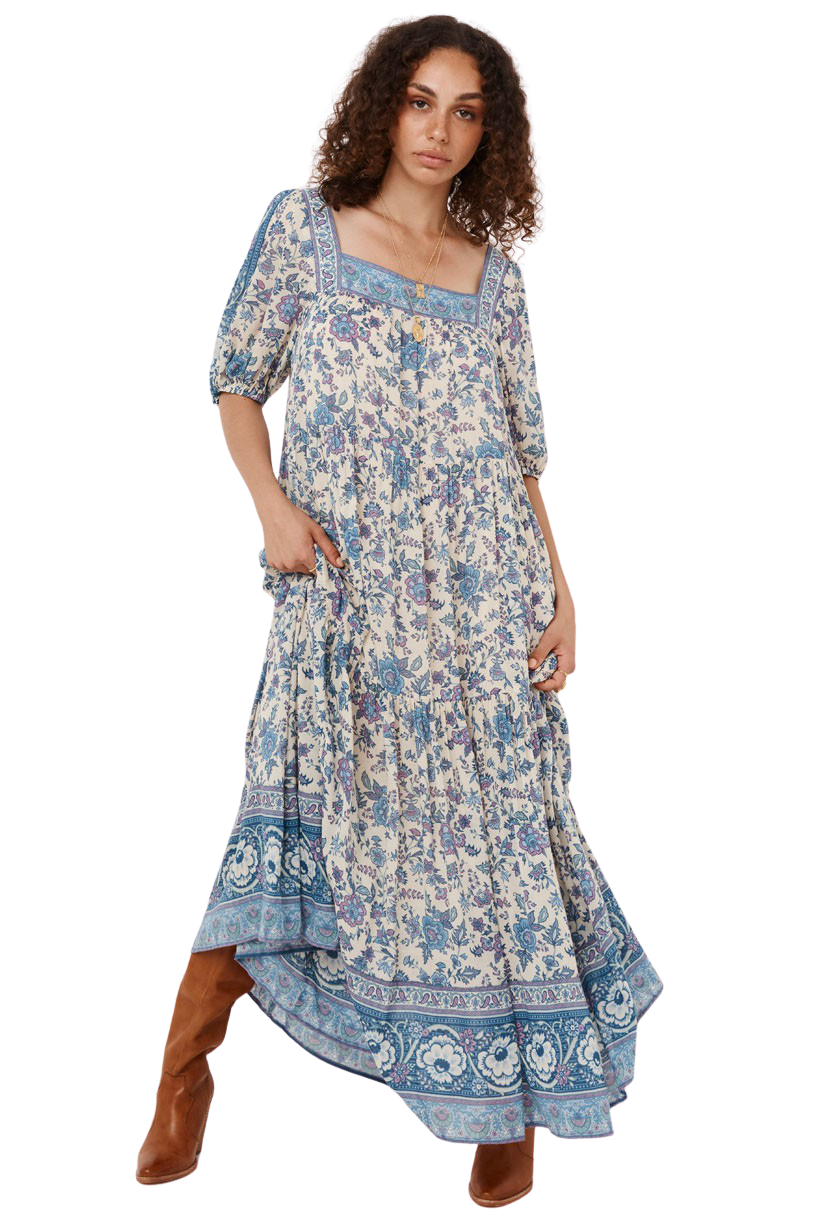 Sky Folk Song Square Neck Gown