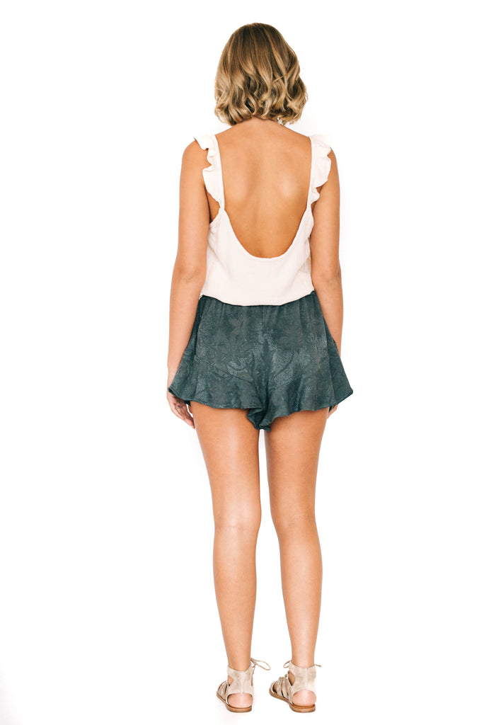 saltwater luxe ruffled mini shorts back photo