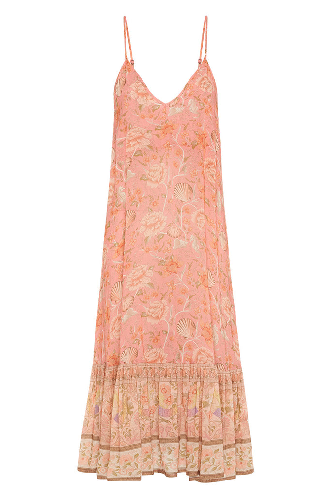 Spell & The Gypsy Collective Coral Seashell Strappy Midi Dress - product front