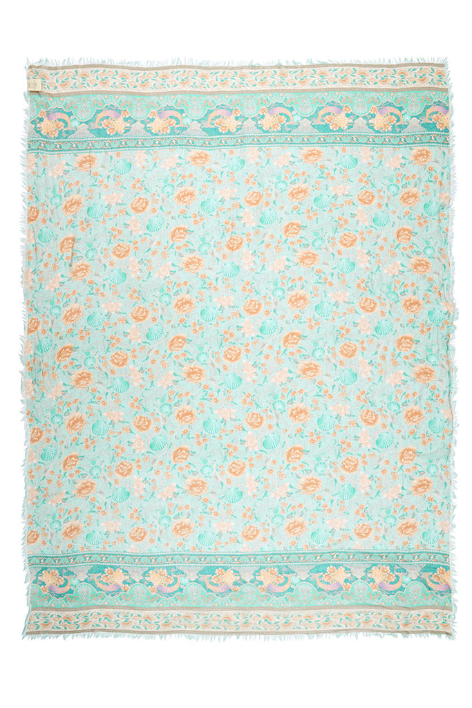 Spell & The Gypsy Collective Seafoam Seashell Travel Scarf flat lay