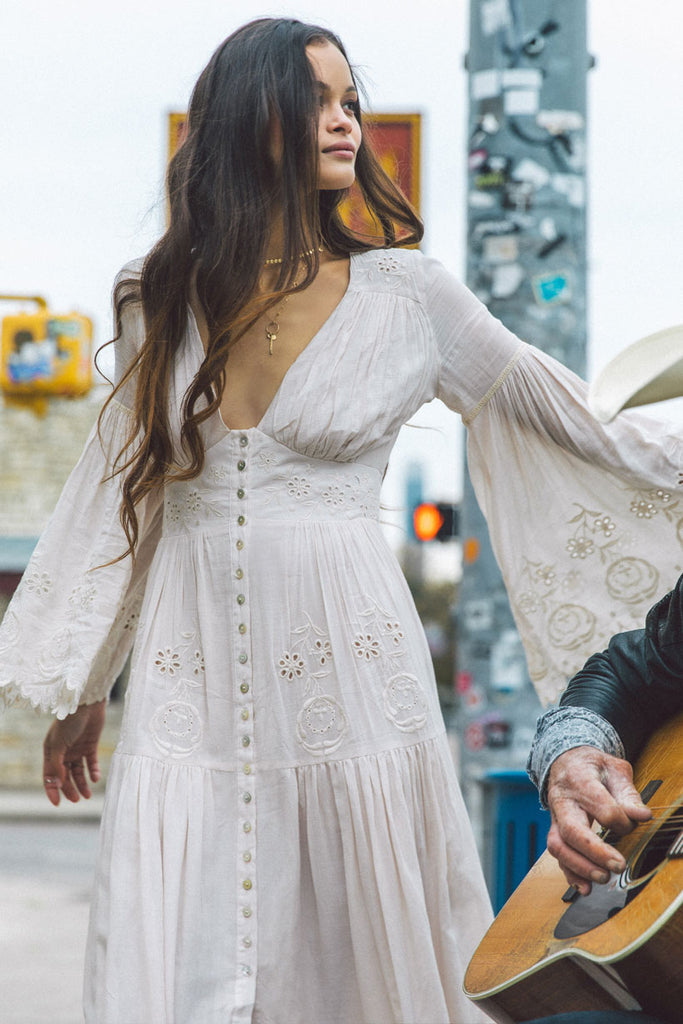 Spell & The Gypsy Cream Imogen Embroidered Gown