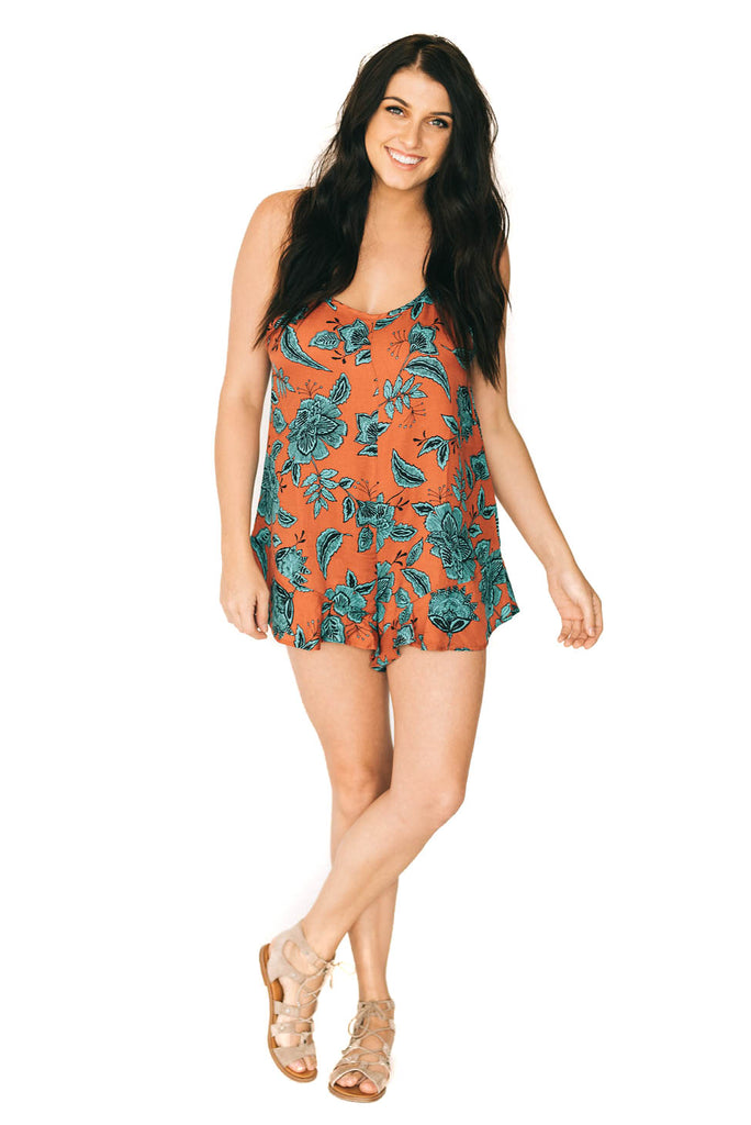 saltwater luxe turquoise floral spellbound romper