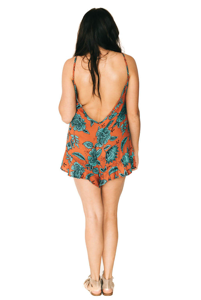 saltwater luxe mini romper with low v-back