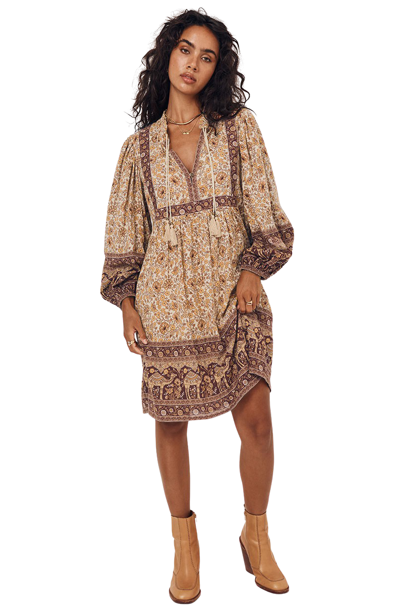 Spice Sundown Boho Mini Dress