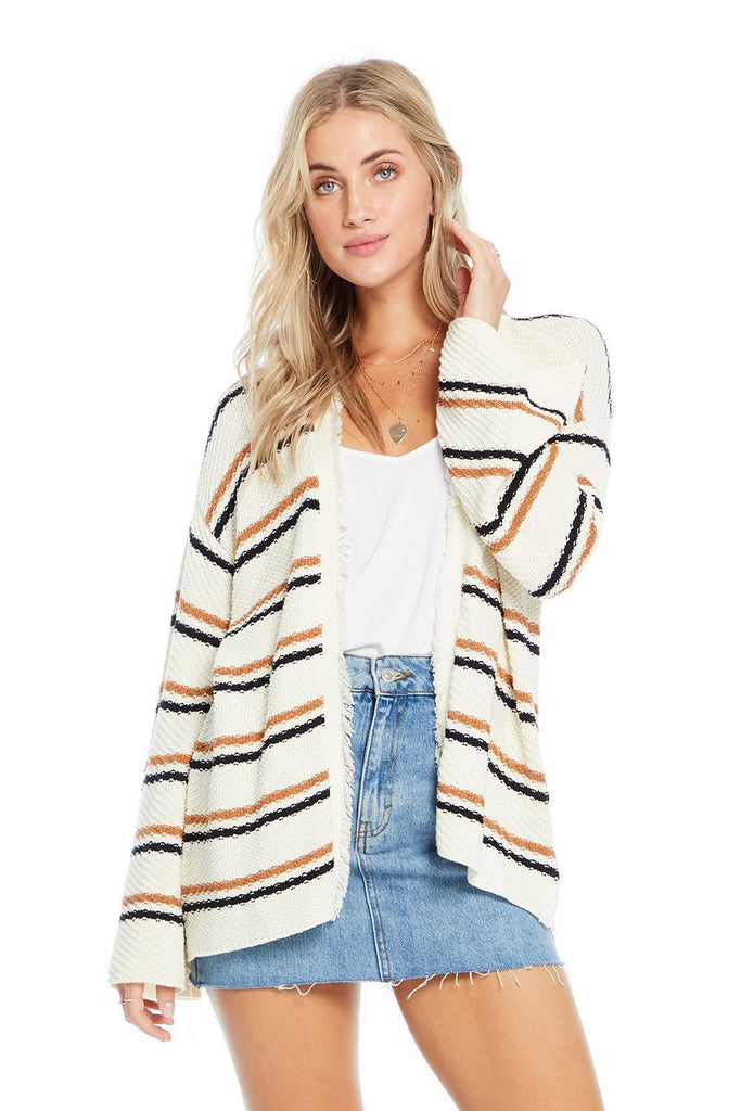 open striped cream cardigan with fringe collar detail