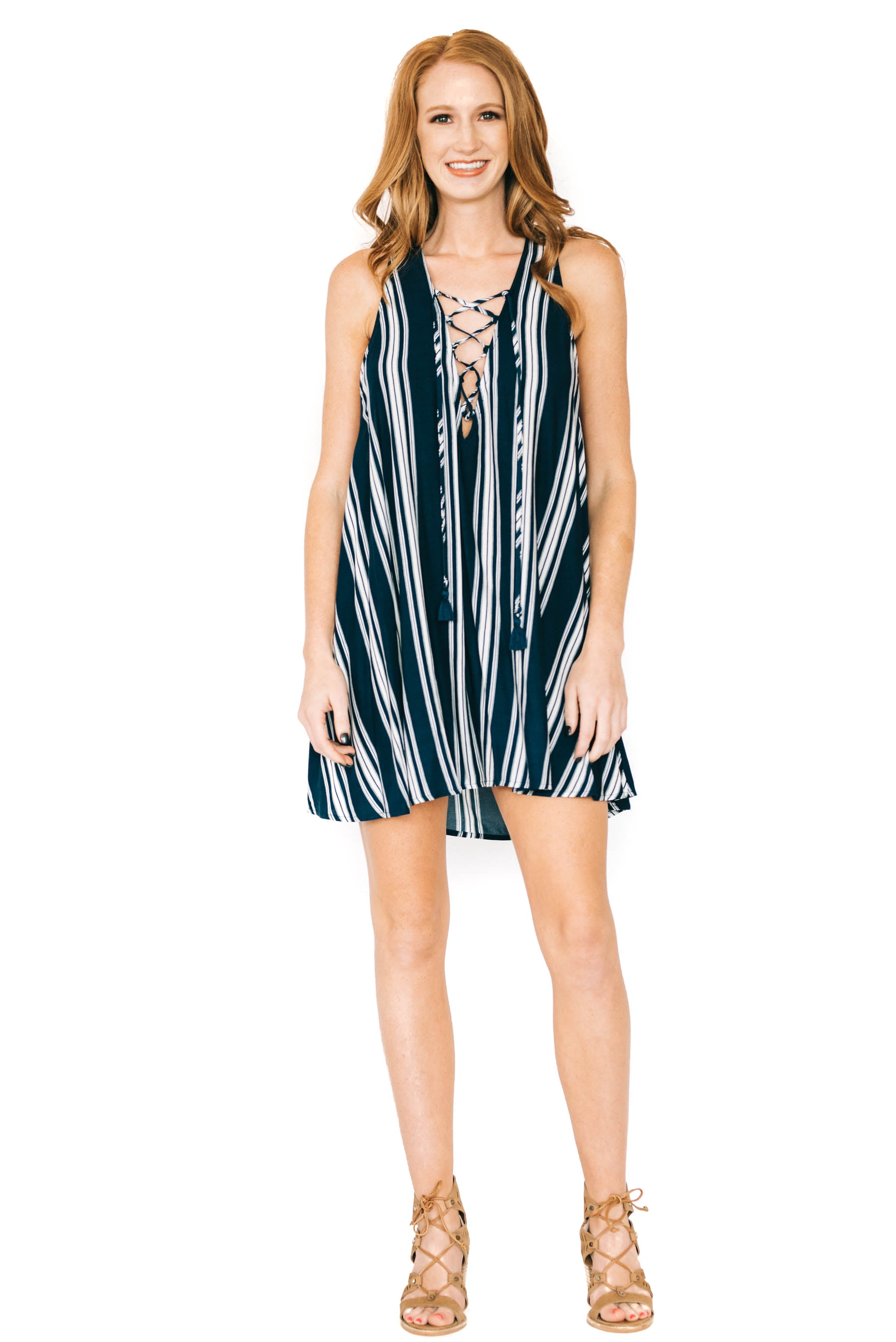 Stripe Breeze Rancho Mirage Lace Up Dress