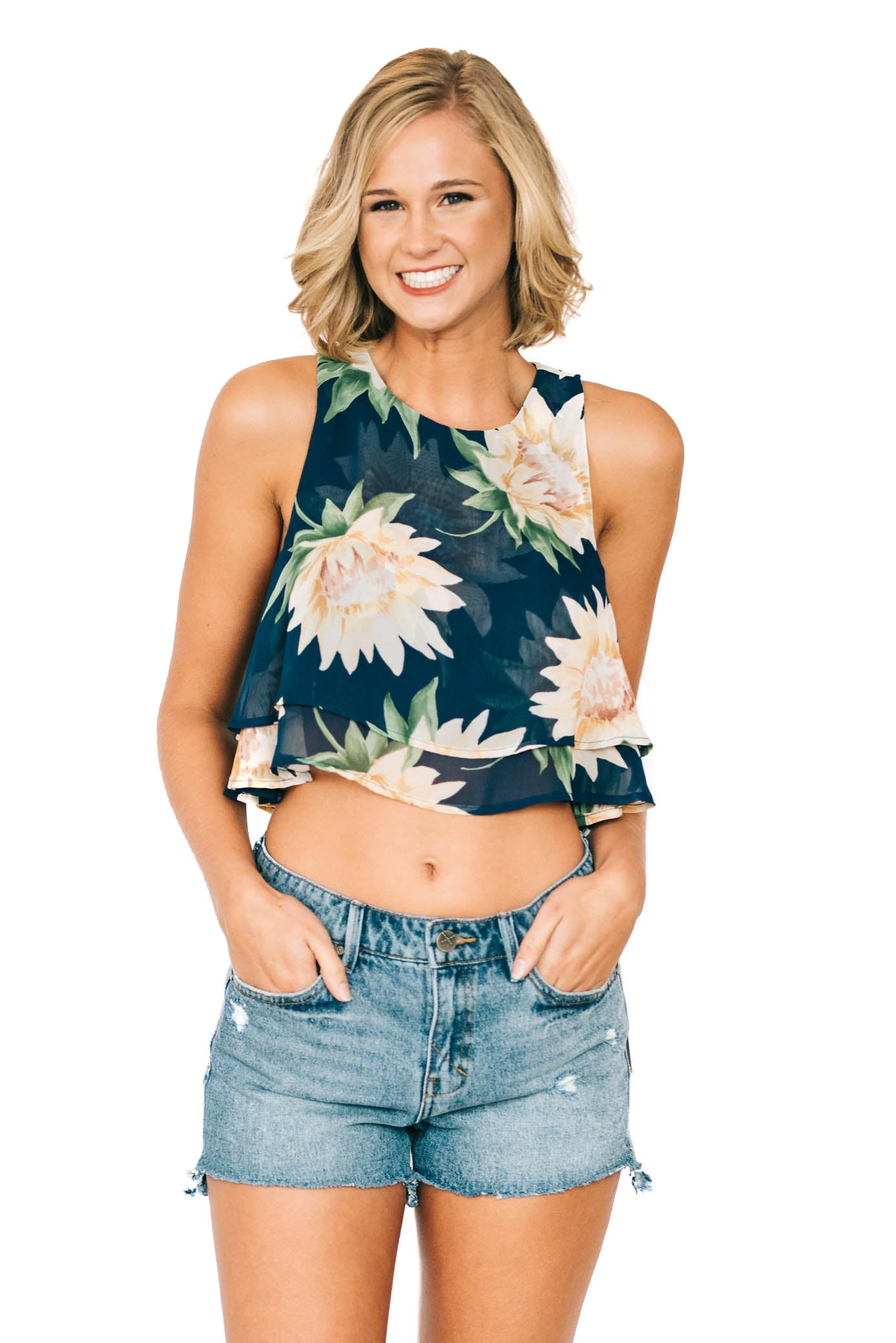 Sunflower Dreams King Crop Top