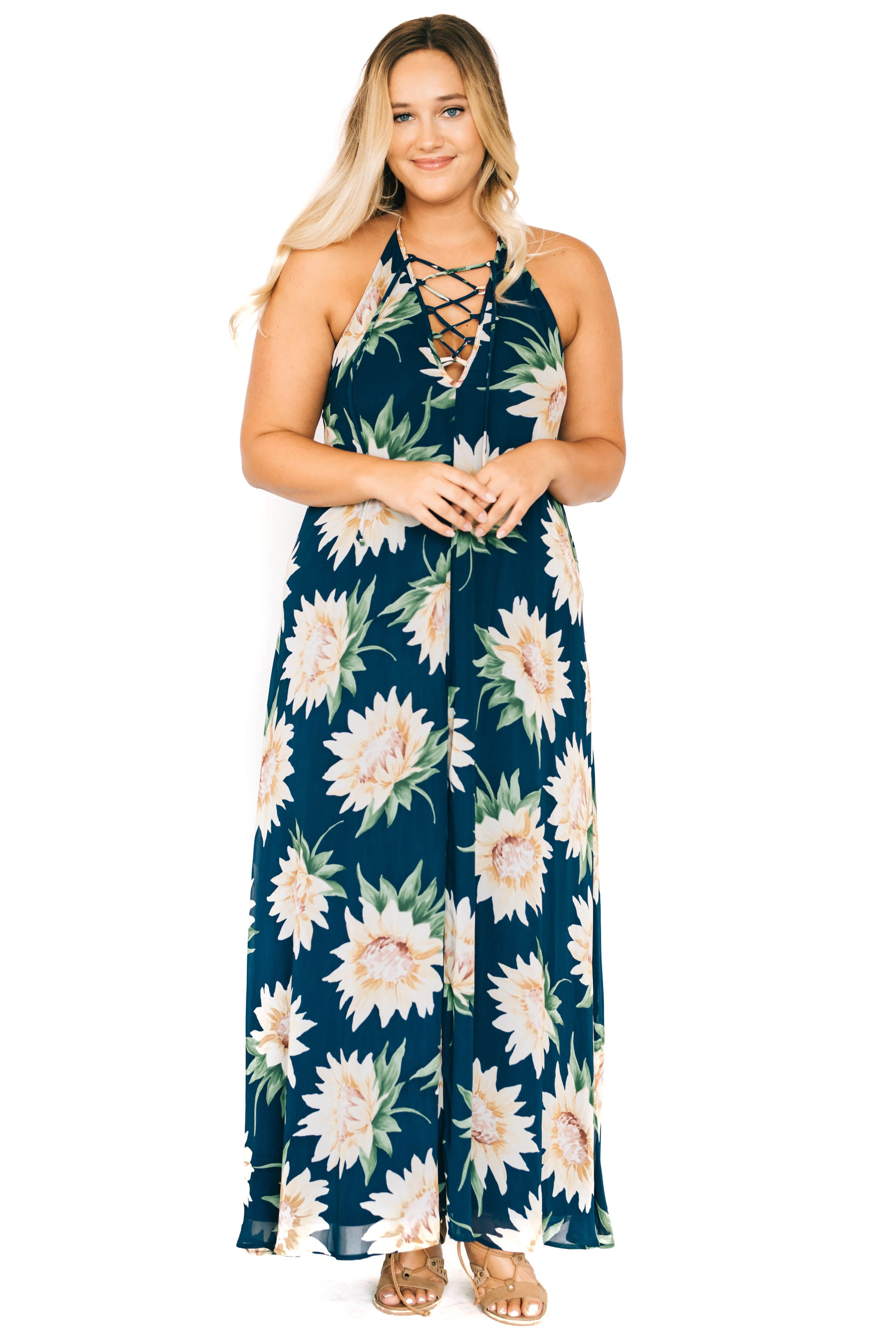 Sunflower Dreams Logan Lace Up Maxi Dress