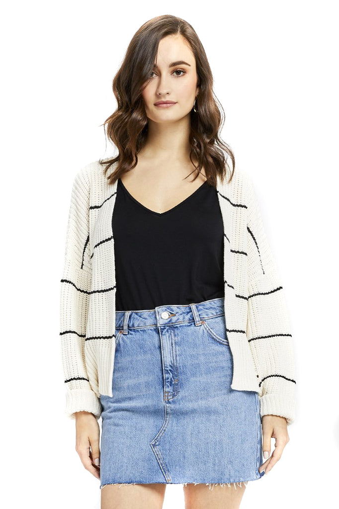 Ivory Stripe Sunrise Cardigan - Front