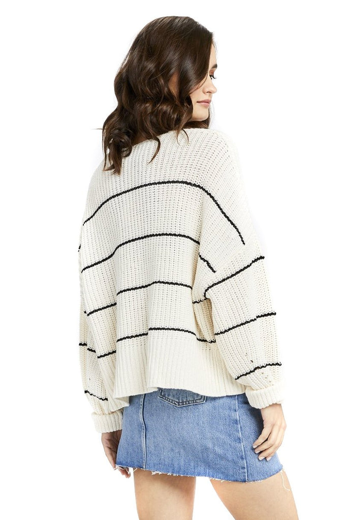 Ivory Stripe Sunrise Cardigan - Back