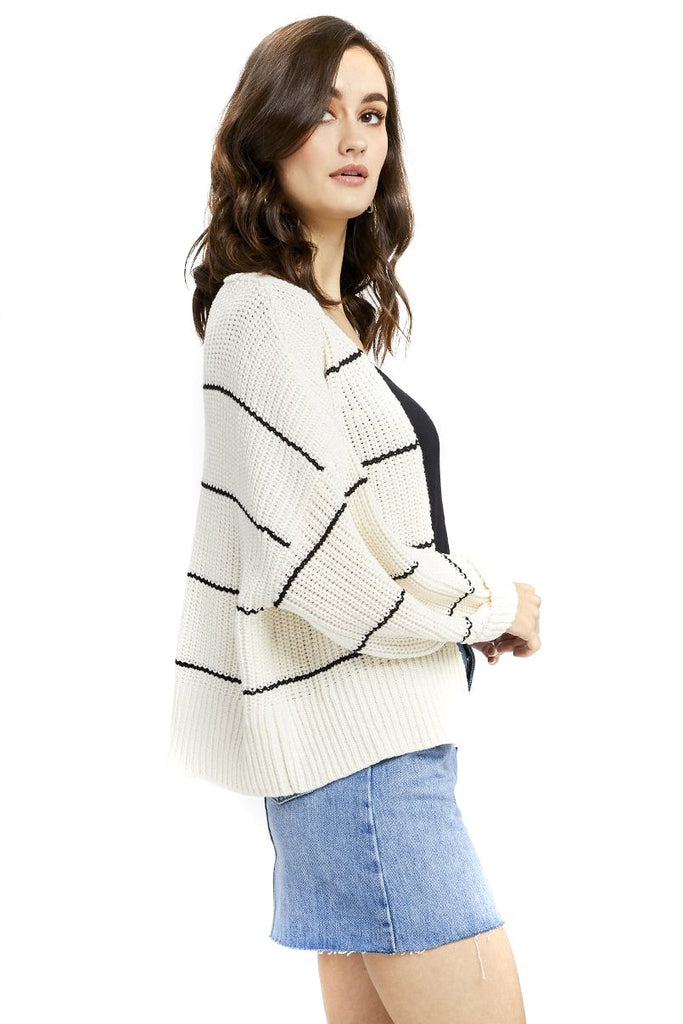 Ivory Stripe Sunrise Cardigan - Side