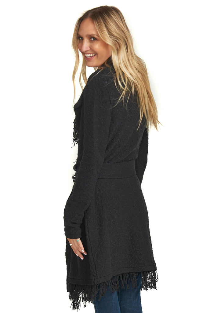 show me your mumu belted black cardigan back photo