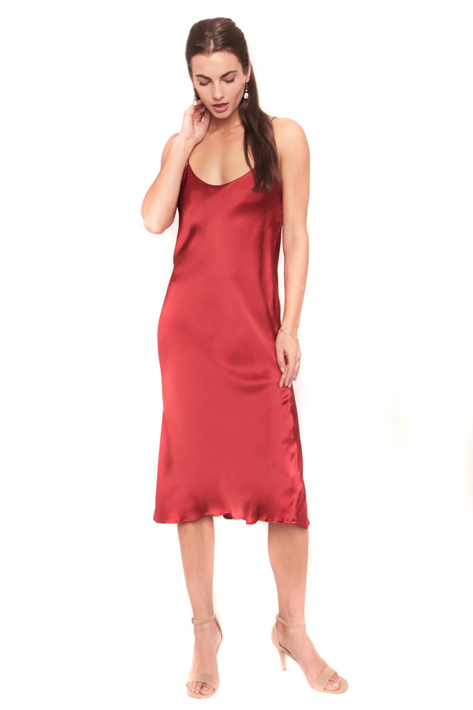 Tango Red Camelia Slip Dress