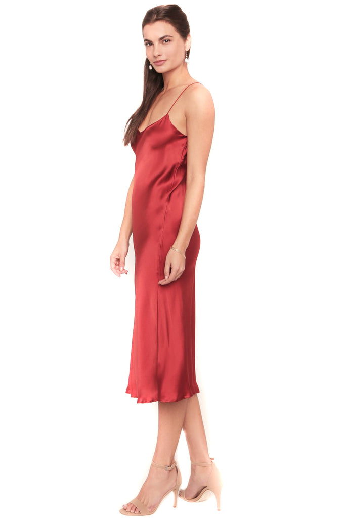 Tango Red Camelia Slip Dress - Side