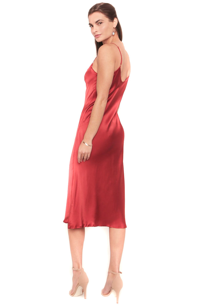 Tango Red Camelia Slip Dress - back
