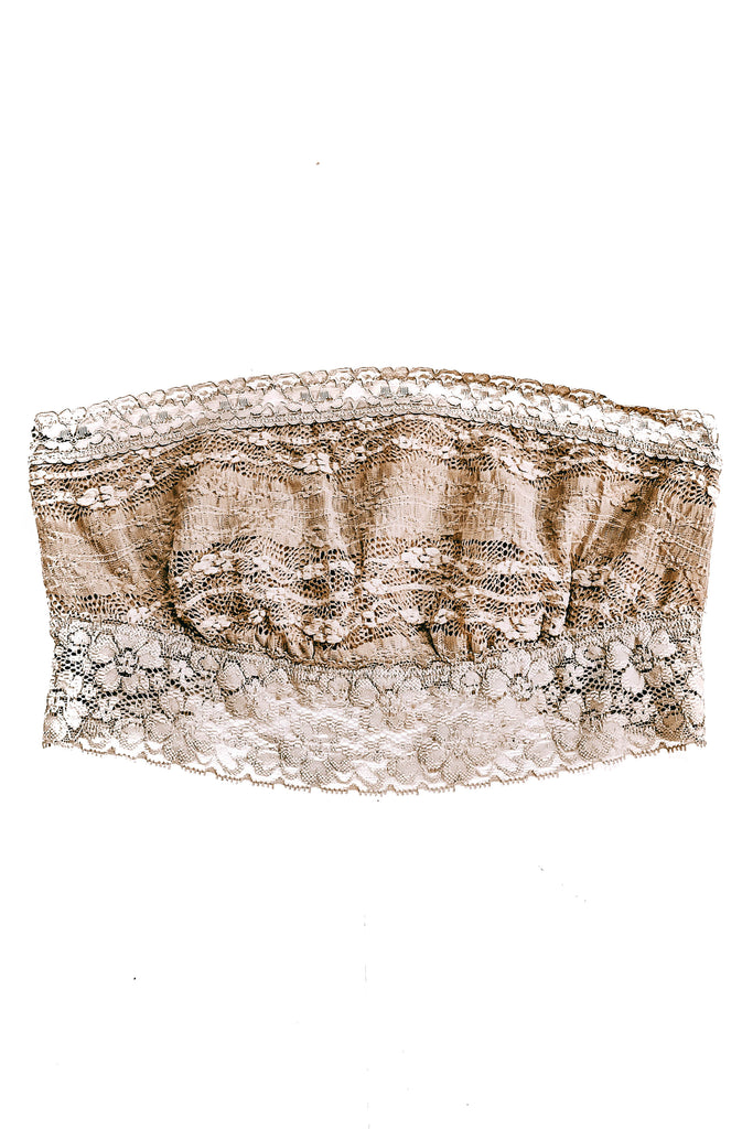 Taupe Scallop Lace Bandeau
