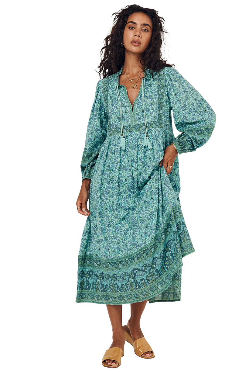 Turquoise Sundown Boho Dress