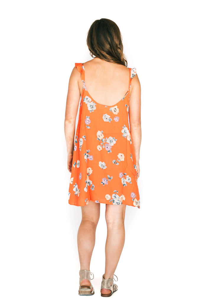 saltwater luxe hot orange floral mini dress back photo
