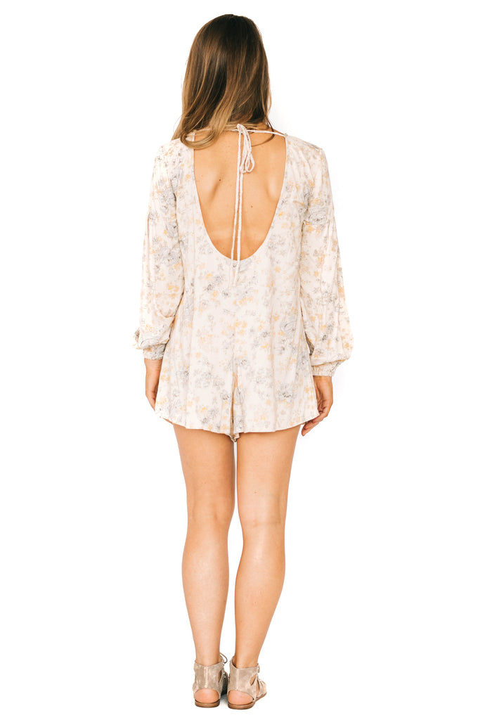 saltwater luxe long-sleeve wallflower rose romper back photo