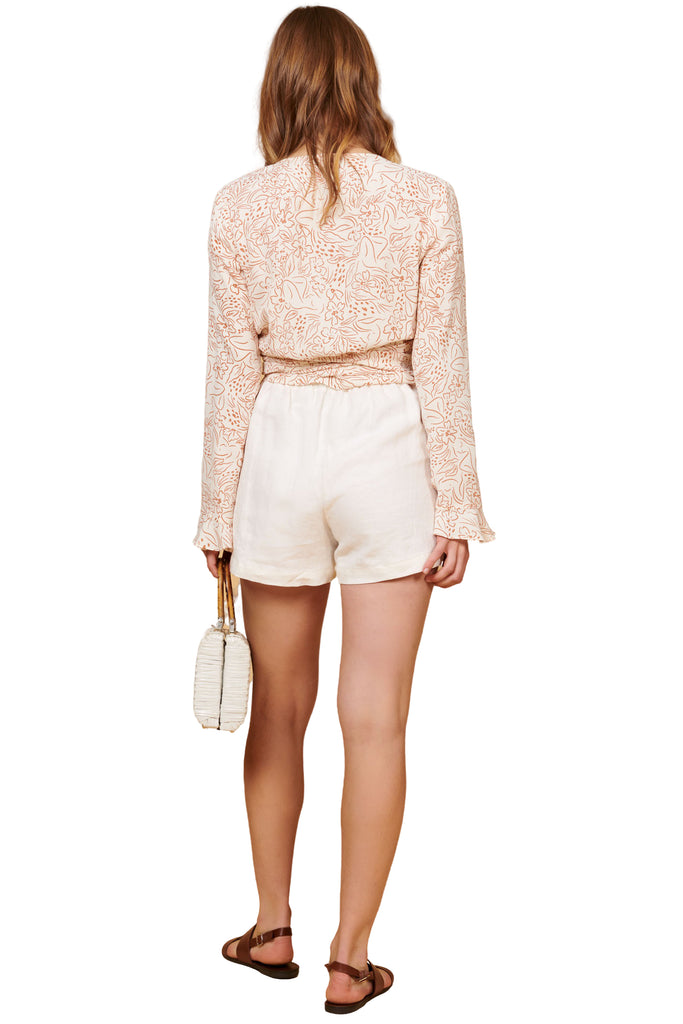 White Linen Valentina Shorts - Back