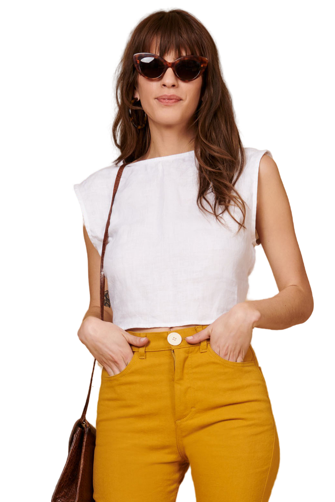 White Linen Valentina Top - Front