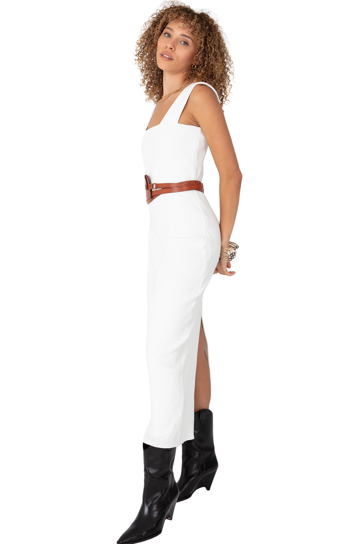 White Square Neck Dress - Side