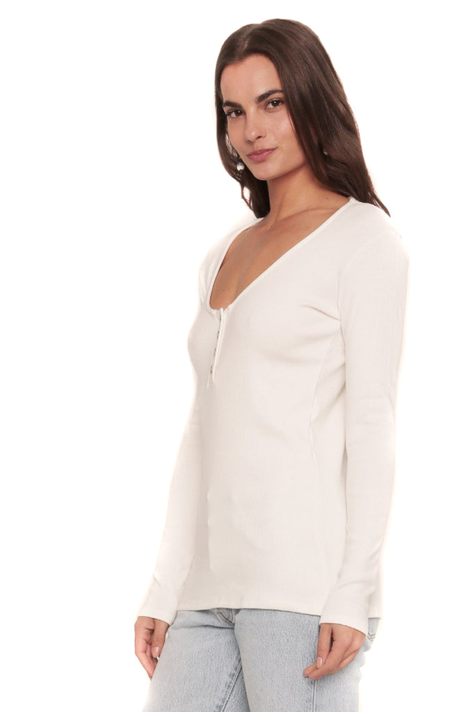 White Henley Shirt Side