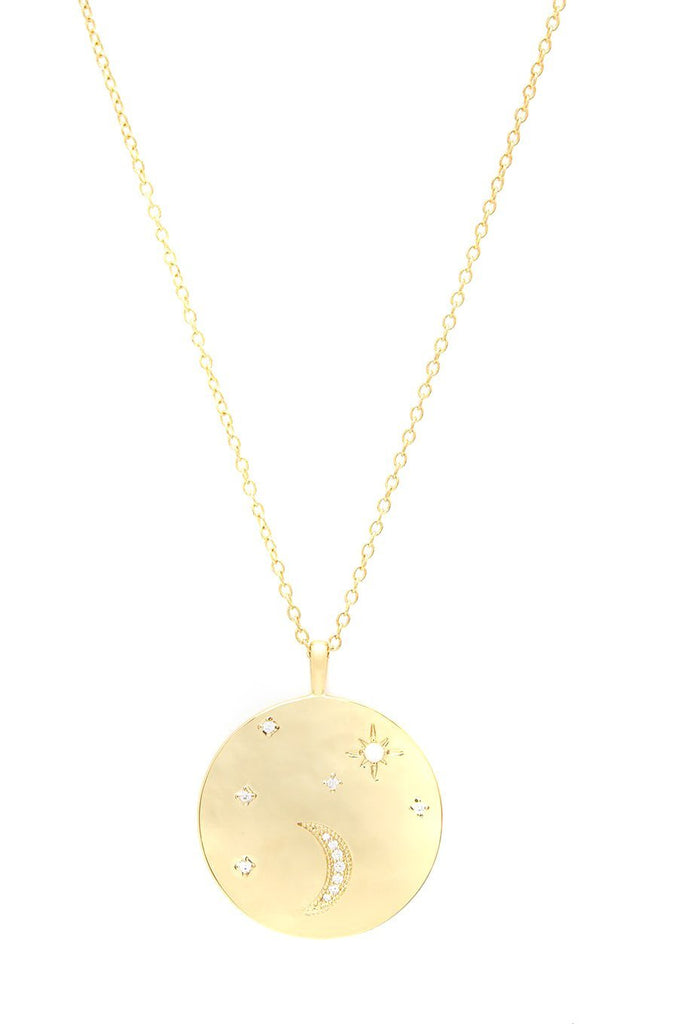 gold coin pendant necklace with moon and star details