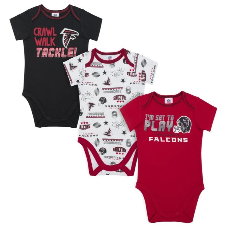 Baby Boys Atlanta Falcons Short Sleeve Bodysuit, 3-pack